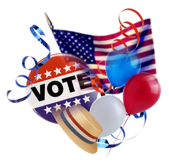Clip Art featuring a voter button, balloons, a hat, and an American flag.
